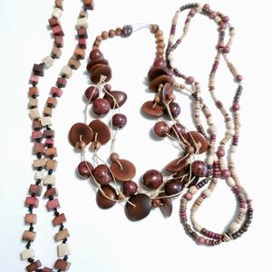 VINTAGE NECKLACE LOT OF 3 WOOD BOHO STYLE NECKLACE